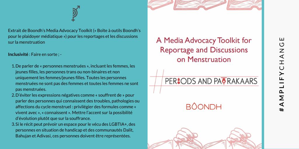 -Extrait de Boondh's Media Advocacy Toolkit (« Boîte à outils Boondh's pour le plaidoyer médiatique ») pour les reportages et les discussions sur la menstruation